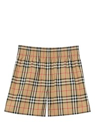 Burberry Check Logo Twill Shorts W Side Bands Archive Beige