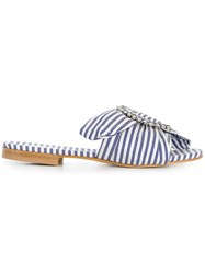 Emanuela Caruso Striped Mules Blue
