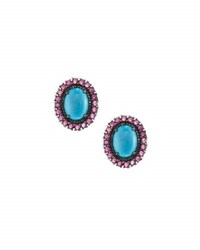 Bavna Oval Turquoise Diamond And Composite Ruby Button Earrings