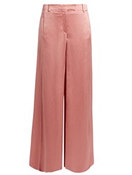 Valentino Hammered Satin Wide Leg Trousers Pink