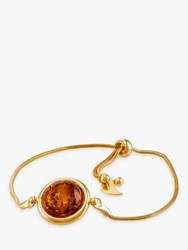 Be Jewelled Round Amber Snake Chain Bracelet Gold Cognac