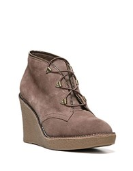 Fergie Ophelia Suede Wedge Bootie Taupe