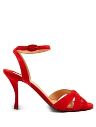 Christian Louboutin Trezum 95 Suede Sandals Red