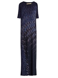 Raquel Allegra Tie Dye Cotton Blend Jersey Dress Navy Multi