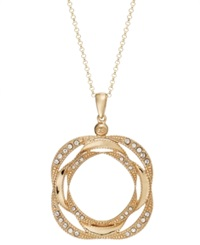 Sis By Simone I Smith 18K Gold Over Sterling Silver Necklace Crystal Love Knot Pendant