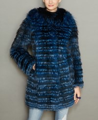 The Fur Vault Fox Coat Blue Marine