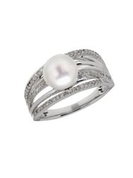 Lord And Taylor 8 White Freshwater Pearl Diamond Sterling Silver Ring