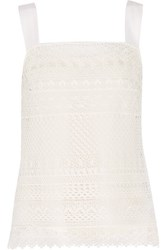 Oscar De La Renta Cotton Blend Guipure Lace Tank White