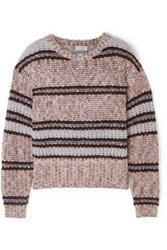 Brunello Cucinelli Sequin Embellished Striped Chunky Knit Sweater Lilac