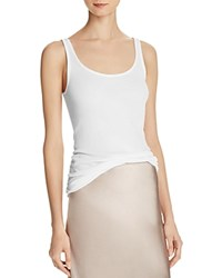 Vince Ribbed Scoop Neck Tank White