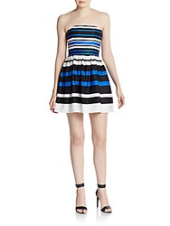 Saks Fifth Avenue Red Striped Strapless Fit And Flare Dress Blue White