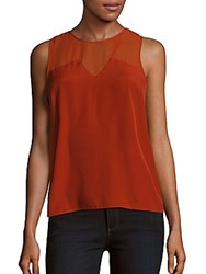 1.State Solid Sleeveless Blouse Maple Leaf