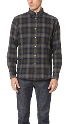 Hartford Paul Plaid Shirt Navy Grey Yellow