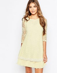 Pussycat London Lace Dress With Pleated Hem Cream