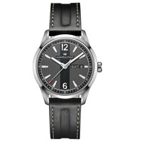 Hamilton H43311735 Men's Broadway Day Date Leather Strap Watch Black