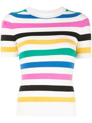 Joostricot Striped Knitted Top White