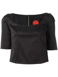 Ultrachic Sweetheart Neck Cropped Blouse Black