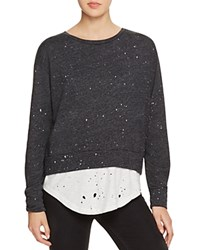 Lna Distressed Layered Look Sweatshirt 100 Bloomingdale's Exclusive Charcoal