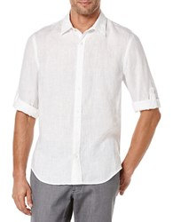 Perry Ellis Short Sleeved Button Front Linen Chambray Shirt Bright White