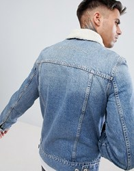 Kings Will Dream Honesdale Denim Jacket With Borg Collar Blue