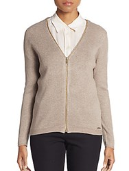 Calvin Klein Ribbed Knit Zip Cardigan Heather Frappe