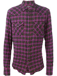Dondup Checked Shirt Pink And Purple