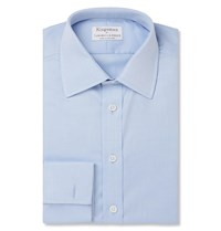 Kingsman Turnbull And Asser Blue Double Cuff Cotton Twill Shirt Blue