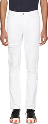 Helmut Lang White Distressed Skinny Jeans