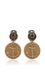 Dolce And Gabbana Embossed Anchor Earrings Gold