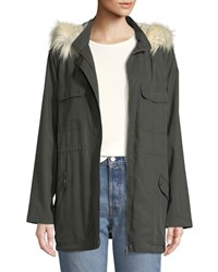 Cupcakes And Cashmere Angelique Faux Fur Anorak Jacket With Removable Hood Green
