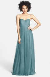 Jenny Yoo Plus Size Women's 'Annabelle' Convertible Tulle Column Dress Vintage Teal
