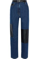 Mcq By Alexander Mcqueen Woman Leather Paneled High Rise Straight Leg Jeans Mid Denim