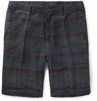 Massimo Alba Vela Slim Fit Watercolour Dyed Checked Linen Shorts Blue