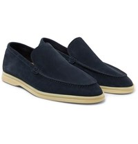 Loro Piana Summer Walk Suede Loafers Navy