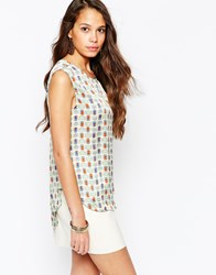 Pussycat London Vest Top In Owl Print Green