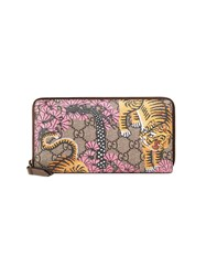 Gucci Bengal Zip Around Wallet Women Leather Canvas One Size Nude Neutrals