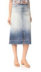 Current Elliott The Slit Midi Skirt Indigo Ombre With Wide Release