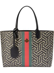 Gucci Gg Caleido Web Tote Women Leather Canvas Microfibre One Size Black