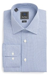 David Donahue Men's Big And Tall Trim Fit Houndstooth Dress Shirt Navy Sky