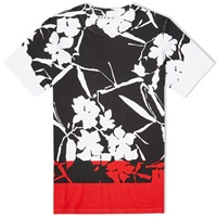 Marni Contrast Panel Flower Tee White Black And Red
