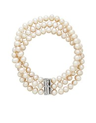 Lord And Taylor Three Row Diamond Freshwater Pearl Bracelet Silver