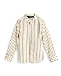 Ralph Lauren Dobby Stripe Cotton Shirt Cream Ivory