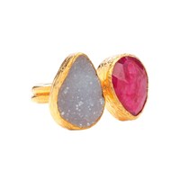 Ottoman Hands Ruby And Rough Chalcedony Two Stone Ring White Red Gold