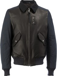 Lanvin Collared Bomber Jacket Men Cotton Calf Leather Polyester Wool 52 Black