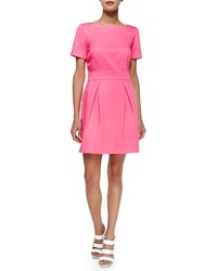 French Connection Short Sleeve Pleated Sateen Dress Keywest Coral