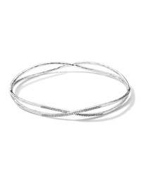 Ippolita Sterling Silver 2 Crisscross Wire Diamond Bangle