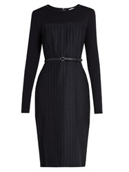 Max Mara Chiffon Dress Navy Stripe