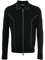 Dsquared2 Studded Zip Front Cardigan Black