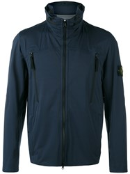 Stone Island Blue Iconic Branded Windbreaker Jacket Island