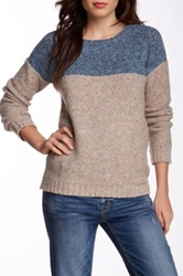 Trovata Two Tone Wool Blend Crew Neck Sweater Multi